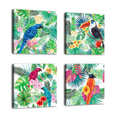 amazon com canvas wall art birds painting parrot in tropical rain