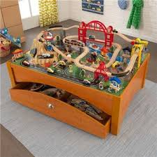 kidkraft train table set kidkraft metropolis 100piece wooden train table set with trundle
