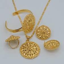 necklace silver gold images Anniyo silver gold color ethiopian set necklace earring ring jpg