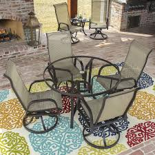 Madison Outdoor Furniture by Madison Bay 5 Piece Sling Dining Set With Glass Top Table By