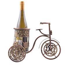 sri creative vintage bicycle golden copper metal wine bottle