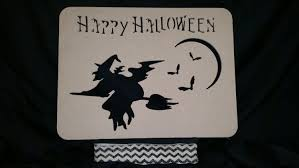 wooden happy halloween witch cutout sign