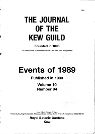 the journal of the kew guild events of 1989 by kew guild journal