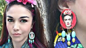 frida earrings frida kahlo earrings diy how to make an earring jewelry on cut