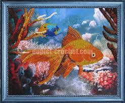 golden fish bead embroidery kit diy bead on needlepoint kit