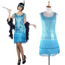 teal blue flirty flapper fancy dress ladies 1920s charleston women