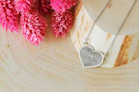 Custom Necklace Personalized Finger Print Heart Necklace Heart Necklace Love