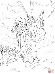 moses comes down from mount sinai with ten commandments coloring