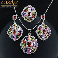 cubic zirconia necklace set images Cubic zirconia indian jewelry sets 925 silver jpg