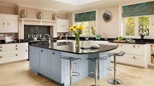 Blue And White Kitchen White Farmhouse Near Window Between Blue Kitchen Cabinets Plus