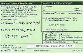 certified mail return receipts