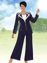 plus size navy pant suit clothing for large ladies
