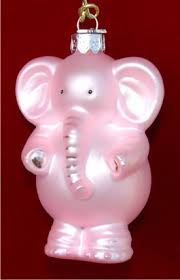pink baby elephant ornament russell rhodes personalized