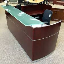 L Shaped Reception Desks Mayline Right L Shaped Reception Desk Cherry Der6653oops