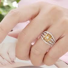 citrine engagement rings 2 carats flower design antique citrine engagement rings