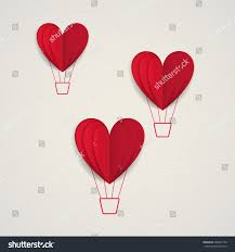 cut paper red valentine hearts abstract stock illustration