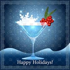 blue martini clip art cocktail glass with frozen berries on winter snowy winter