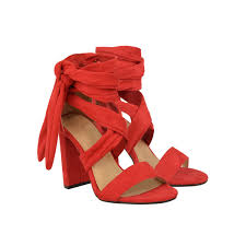 red suede block high heel ankle lace up peep toe sandals dynami