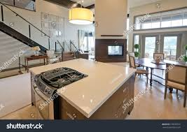 Luxury Living Room And Kitchen Luxury Modern Kitchen Living Room Fireplace Stock Photo 139355315