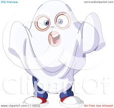 cartoon of a halloween boy in a sheet ghost costume royalty free