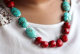 natural turquoise necklace images Designer natural turquoise red coral gemstone handmade necklace at jpg