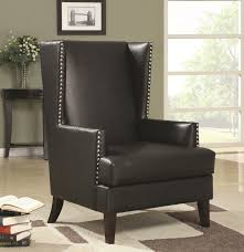 wing back accent chair in transitional furniture style with nail