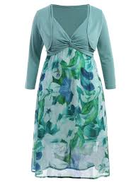 plus size midi flower dress with jacket light green xl in plus
