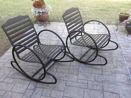Howdy Doody Rocking Chair Vintage Pair Art Deco Lawn Patio Garden Tubular Metal Hoop Rocking