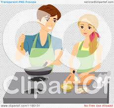 cartoon of a happy couple cooking in a kitchen royalty free