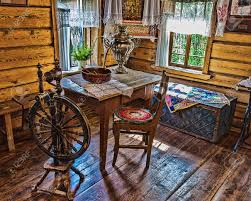interior of an russian log hut with elements of the old way