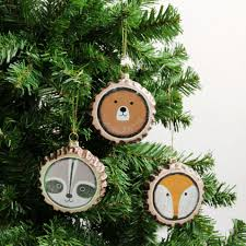 woodland animal christmas decorations box of 3