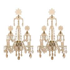 Crystal Wall Sconce by Pair Of 19th Century Waterford Cut Crystal Two Light Wall Sconces