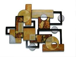 set of 3 contemporary modern geometric abstract wood wall