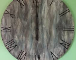 24 inch large rustic wall clock big barn wood clock with