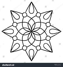 simple floral mandala pattern coloring book stock vector 573838849
