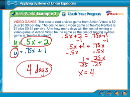 showme 6 5 practice applying systems of linear equations answer key