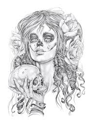 day of the dead dias di los muertos pencil drawing tattoo
