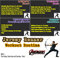 Bench Workout Routine Jeremy Renner Workout Routine Monsterabs