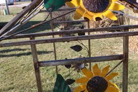 wrought iron sunflower arbor plant support trellis