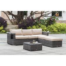 Patio Furniture Cove - cove gray wicker adjustable sofa set with ottomans