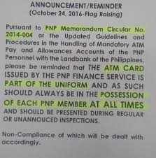 What Does The Philippine Flag Mean Look Reminders About Atm Cards Of Pnp Personnel Being Part Of The
