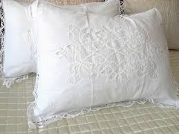 Shabby Chic Pillow Shams by A Pair Of Shabby Chic 100 Cotton Handmade Battenburg Lace Pillow