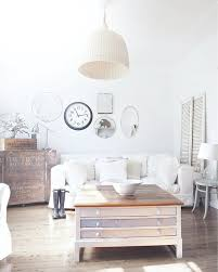Shabby Chic Pendant Lighting by Mirror Collage With Distressed Coffee Table Living Room Shabby