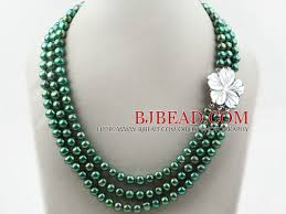white shell pearl necklace images Three strands 8 9mm round dyed dark green freshwater pearl jpg