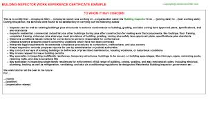 construction and building inspector work experience letters