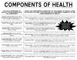Health And Wellness Worksheets For Components Of Health Lesson Plans Part 1 Project Wellness