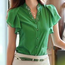 green blouses fashion white green blouses stylish casual butterfly