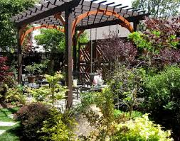 pergola with climbing plants and low deck add outdoor interest