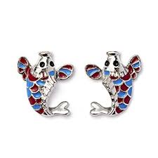 rhodium earrings sensitive ears koi fish colorful stud earrings for sensitive ears