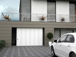 decorations black side sliding garage doors on bricked wall